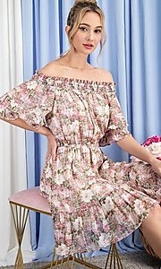 Image of floral print short casual off-shoulder party dress. Style: LAS-EES-21-DK4241 Front Image