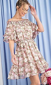 Image of floral print short casual off-shoulder party dress. Style: LAS-EES-21-DK4241 Detail Image 1