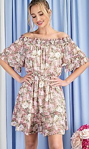 Image of floral print short casual off-shoulder party dress. Style: LAS-EES-21-DK4241 Detail Image 2