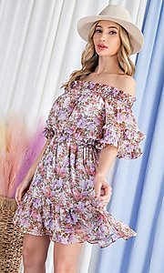 Image of floral print short casual off-shoulder party dress. Style: LAS-EES-21-DK4241 Detail Image 4