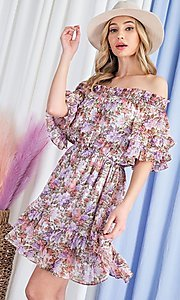 Image of floral print short casual off-shoulder party dress. Style: LAS-EES-21-DK4241 Detail Image 5