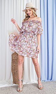 Image of floral print short casual off-shoulder party dress. Style: LAS-EES-21-DK4241 Detail Image 6