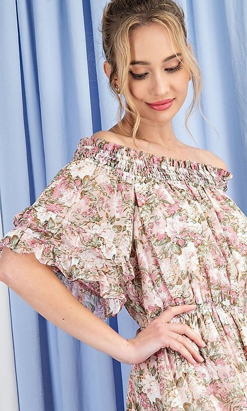 Image of floral print short casual off-shoulder party dress. Style: LAS-EES-21-DK4241 Back Image