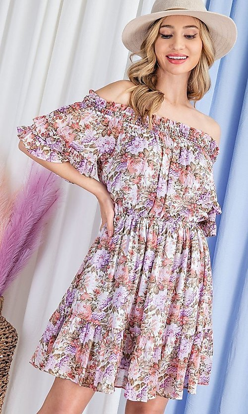 Image of floral print short casual off-shoulder party dress. Style: LAS-EES-21-DK4241 Detail Image 3
