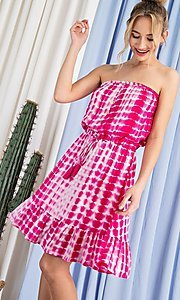 Image of strapless hot pink short print summer dress. Style: LAS-EES-21-DK4303 Front Image