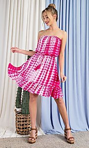 Image of strapless hot pink short print summer dress. Style: LAS-EES-21-DK4303 Detail Image 1