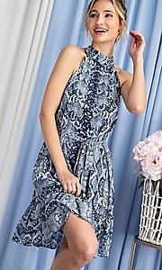 Image of high-neck blue snakeskin-print short party dress. Style: LAS-EES-21-DK4385 Detail Image 2