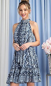 Image of high-neck blue snakeskin-print short party dress. Style: LAS-EES-21-DK4385 Detail Image 3