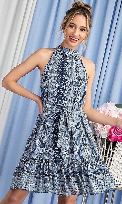 Image of high-neck blue snakeskin-print short party dress. Style: LAS-EES-21-DK4385 Front Image