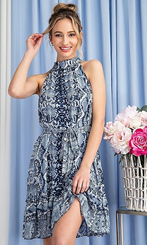 Image of high-neck blue snakeskin-print short party dress. Style: LAS-EES-21-DK4385 Detail Image 1