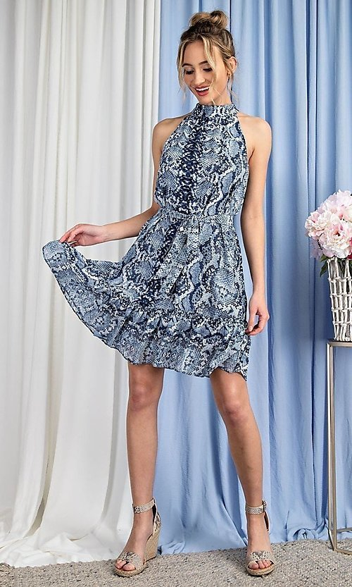Image of high-neck blue snakeskin-print short party dress. Style: LAS-EES-21-DK4385 Detail Image 4
