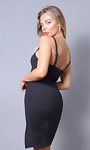 Image of sweetheart tight short wedding-guest party dress. Style: LAS-CEF-21-ID8414 Back Image