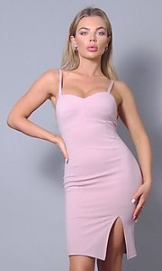 Image of sweetheart tight short wedding-guest party dress. Style: LAS-CEF-21-ID8414 Front Image