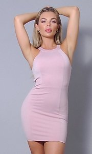 Image of tight short open-back sexy party dress. Style: LAS-CEF-21-ID8417 Detail Image 5