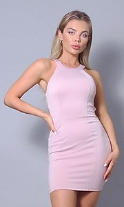 Image of tight short open-back sexy party dress. Style: LAS-CEF-21-ID8417 Detail Image 6