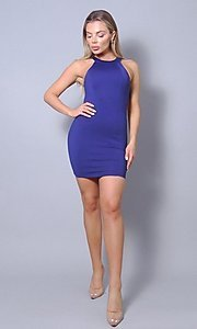 Image of tight short open-back sexy party dress. Style: LAS-CEF-21-ID8417 Detail Image 3