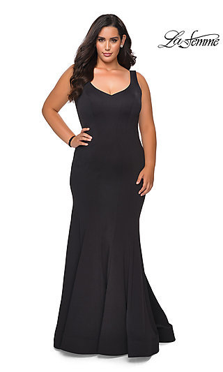 Simple V-Neck Long Formal Plus-Size Mermaid Gown
