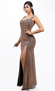 Image of metallic glitter long sweetheart formal gown. Style: LAS-LSC-21-25861 Front Image