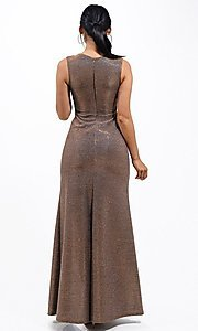 Image of metallic glitter long sweetheart formal gown. Style: LAS-LSC-21-25861 Back Image