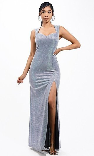 Metallic Glitter Long Jacquard Formal Gown