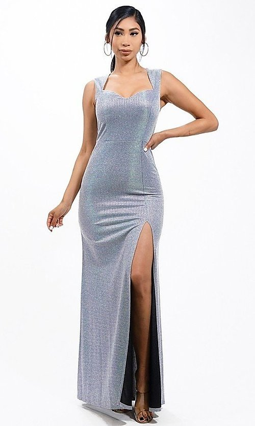 Image of metallic glitter long sweetheart formal gown. Style: LAS-LSC-21-25861 Detail Image 3