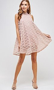Image of mock-neck light pink lace short casual dress. Style: LAS-SOL-21-S-20381 Front Image