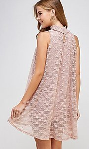 Image of mock-neck light pink lace short casual dress. Style: LAS-SOL-21-S-20381 Back Image