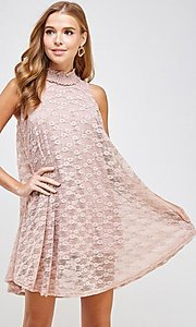 Image of mock-neck light pink lace short casual dress. Style: LAS-SOL-21-S-20381 Detail Image 4