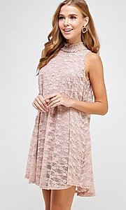 Image of mock-neck light pink lace short casual dress. Style: LAS-SOL-21-S-20381 Detail Image 5