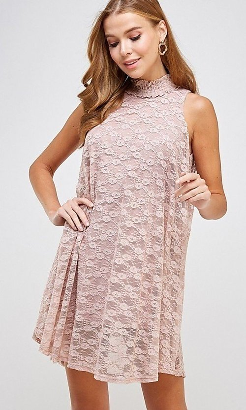 Image of mock-neck light pink lace short casual dress. Style: LAS-SOL-21-S-20381 Detail Image 1
