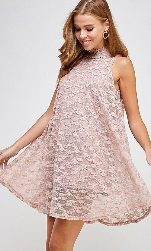 Image of mock-neck light pink lace short casual dress. Style: LAS-SOL-21-S-20381 Detail Image 2