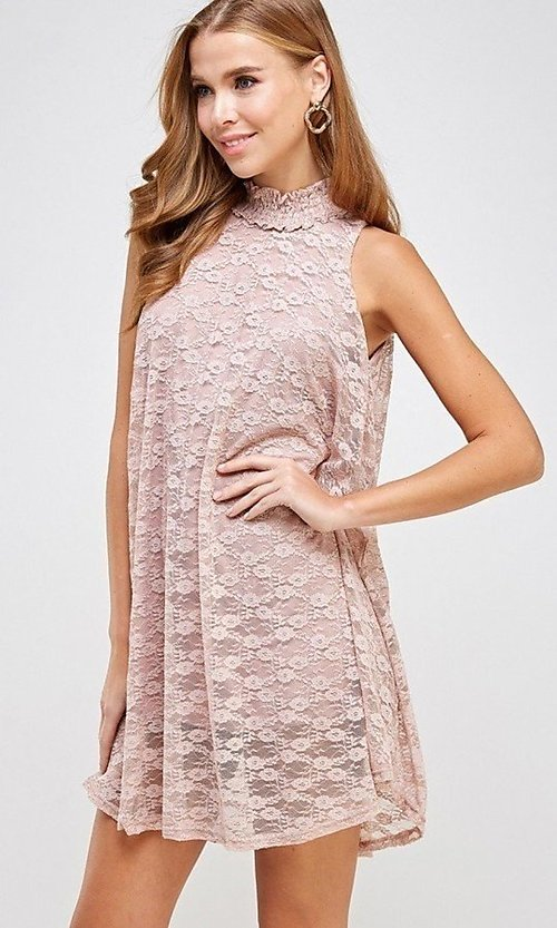 Image of mock-neck light pink lace short casual dress. Style: LAS-SOL-21-S-20381 Detail Image 3