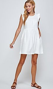 Image of short off-white graduation dress with pockets. Style: LAS-2H-21-D3108 Front Image