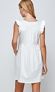 Image of short off-white graduation dress with pockets. Style: LAS-2H-21-D3108 Back Image