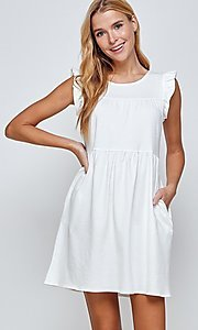 Image of short off-white graduation dress with pockets. Style: LAS-2H-21-D3108 Detail Image 1
