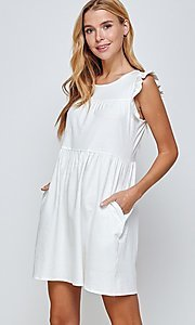 Image of short off-white graduation dress with pockets. Style: LAS-2H-21-D3108 Detail Image 3