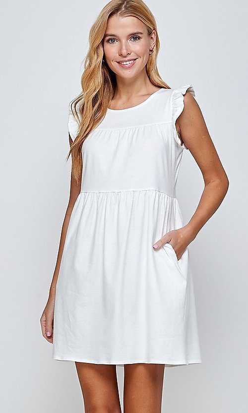 Image of short off-white graduation dress with pockets. Style: LAS-2H-21-D3108 Detail Image 2