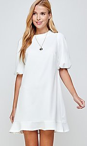 Image of short ivory graduation dress with puff sleeves. Style: LAS-2H-21-D3155 Detail Image 3