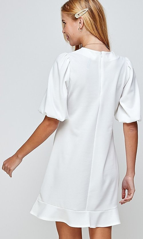 Image of short ivory graduation dress with puff sleeves. Style: LAS-2H-21-D3155 Back Image