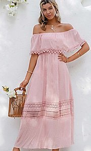 Image of blush pink casual off-the-shoulder maxi dress. Style: LAS-ESL-21-50193DXY Front Image