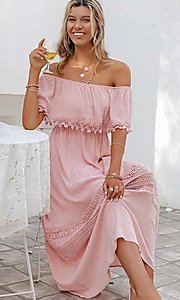 Image of blush pink casual off-the-shoulder maxi dress. Style: LAS-ESL-21-50193DXY Detail Image 1