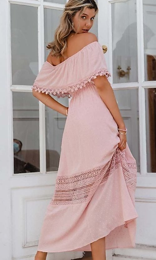 Image of blush pink casual off-the-shoulder maxi dress. Style: LAS-ESL-21-50193DXY Back Image