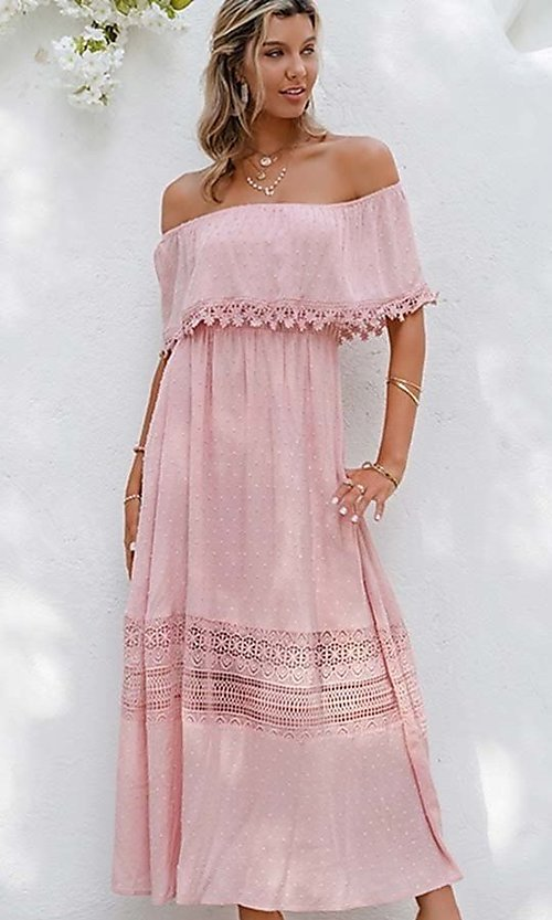 Image of blush pink casual off-the-shoulder maxi dress. Style: LAS-ESL-21-50193DXY Detail Image 2
