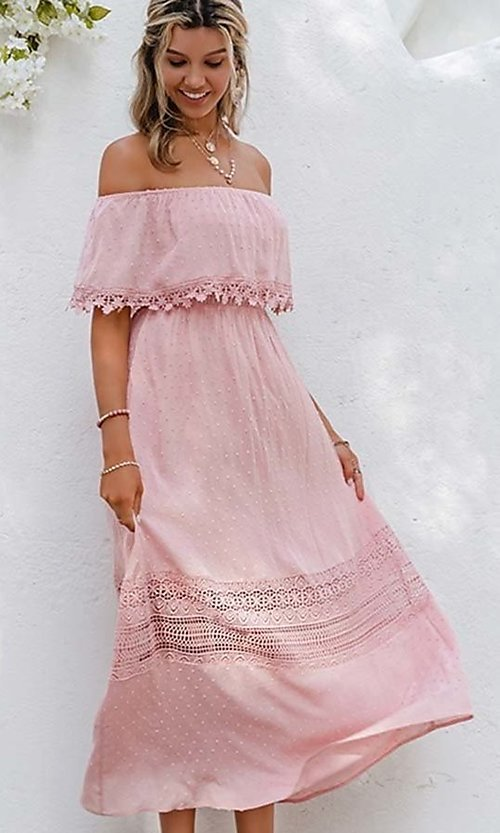 Image of blush pink casual off-the-shoulder maxi dress. Style: LAS-ESL-21-50193DXY Detail Image 3
