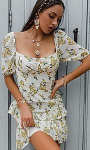 Image of floral print short casual dress with puff sleeves. Style: LAS-ESL-21-50198DXY Detail Image 2