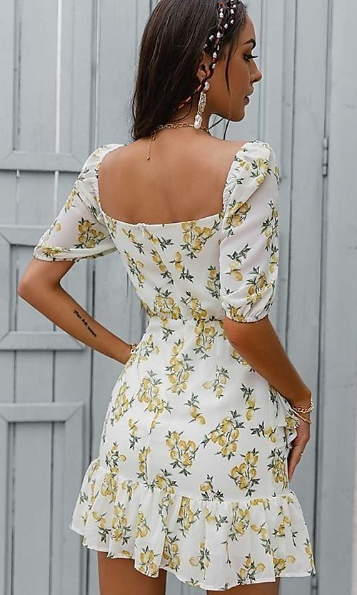 Image of floral print short casual dress with puff sleeves. Style: LAS-ESL-21-50198DXY Back Image