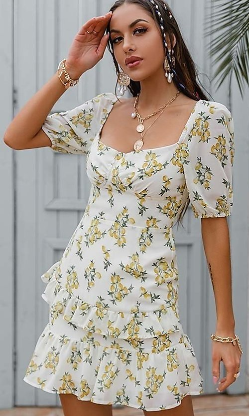 Image of floral print short casual dress with puff sleeves. Style: LAS-ESL-21-50198DXY Detail Image 1