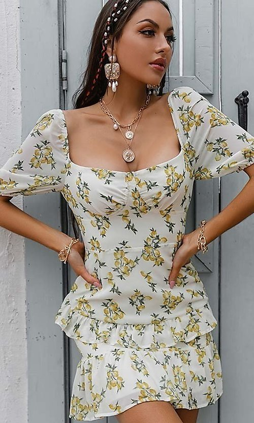 Image of floral print short casual dress with puff sleeves. Style: LAS-ESL-21-50198DXY Detail Image 4