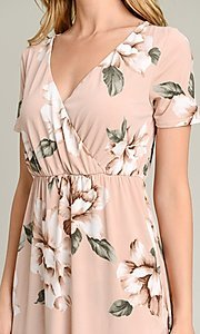 Image of short sleeve high-low pink floral-print casual dress. Style: LAS-VB-21-VD7681 Detail Image 1