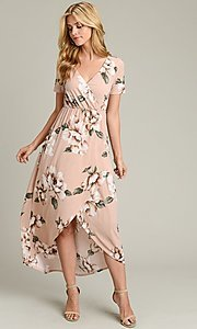 Image of short sleeve high-low pink floral-print casual dress. Style: LAS-VB-21-VD7681 Detail Image 2